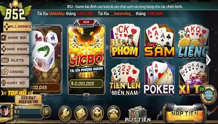 cổng game đổi thưởng b52