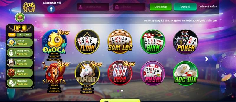 cổng game bài đổi thưởng Vip52