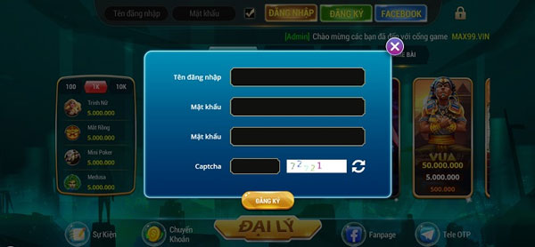 điền thông tin đăng ký max99